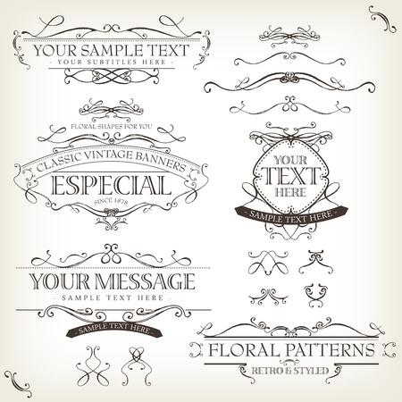 Illustratie van een set van retro labels, frames, schetste banners, bloemmotieven, linten, en grafisch ontwerp elementen op vintage oud papier achtergrond