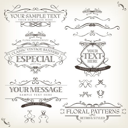 Illustration of a set of retro labels, frames, sketched banners, floral patterns, ribbons, and graphic design elements on vintage old paper background Illustration