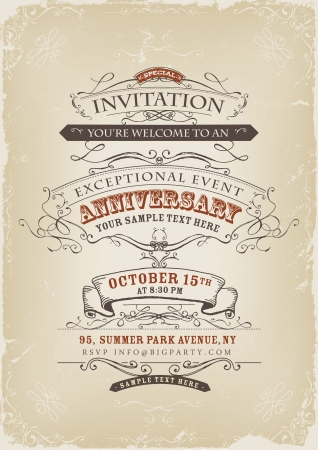 sketched: Illustration of a vintage invitation poster with sketched banners, floral patterns, ribbons, text and design elements on grunge frame background