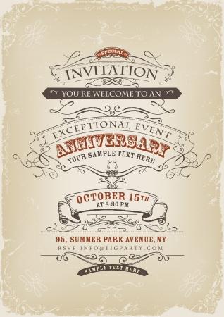 invitaci�n vintage: Ilustraci�n de un cartel de invitaci�n vintage con banderas dibujadas, estampados de flores, cintas, texto y elementos de dise�o en el grunge de fondo el marco
