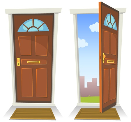 doors open: Illustration of a cartoon front red door opened on a spring urban backyard and closed, symbolizing private and public frontier, paradise or heavens gate, with mat to wipe foot