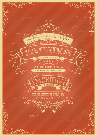 opening party: Illustration of a vintage invitation placard poster background for exhibition opening with sketched banners, floral patterns, ribbons, text and design elements inside grunge frame texture Illustration