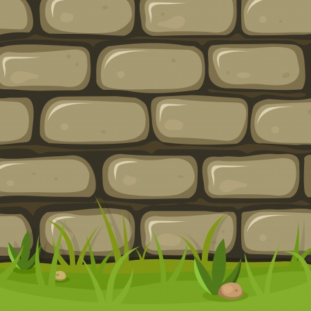 bricklayer: Illustration of a cartoon rural stone wall background with bricks of rock, grass leaves and lawn