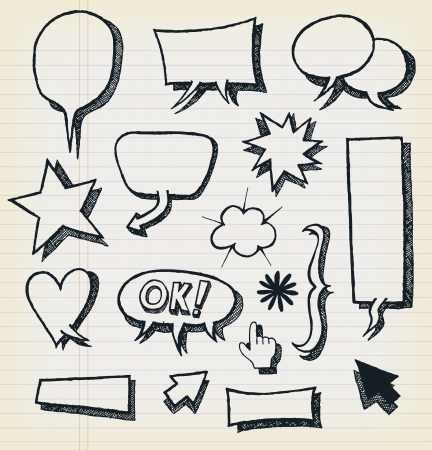 sketched arrows: Illustration of a group of outlined hand drawn sketched design elements and symbols, including arrows, signs and speech bubbles, on school paper with red and blue stripes Illustration