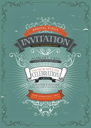 inbjudan: Illustration av en vintage inbjudan plakat affisch bakgrund för helgdagar och speciella evenemang, med skissade banderoller, blommönster, band, text, designelement och grunge konsistens Illustration
