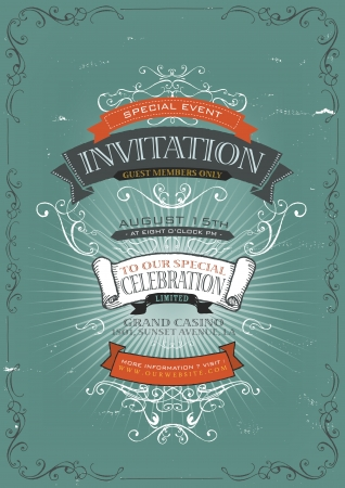 Illustration of a vintage invitation placard poster background for holidays and special events, with sketched banners, floral patterns, ribbons, text, design elements and grunge texture Vector