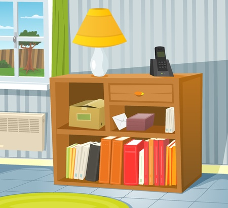 Illustration of a cartoon room interior scene with bookshelf on the wall and spring or summer backyard landscape in the window Illustration