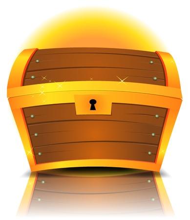 漫画のイラスト閉鎖ゴールドと反射効果と木材で作られた宝箱