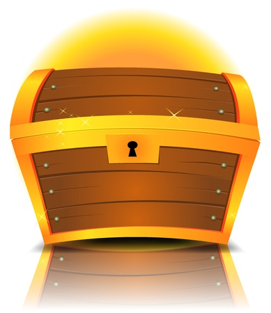 Illustration of a cartoon closed treasure chest made with gold and wood with reflection effect Illustration