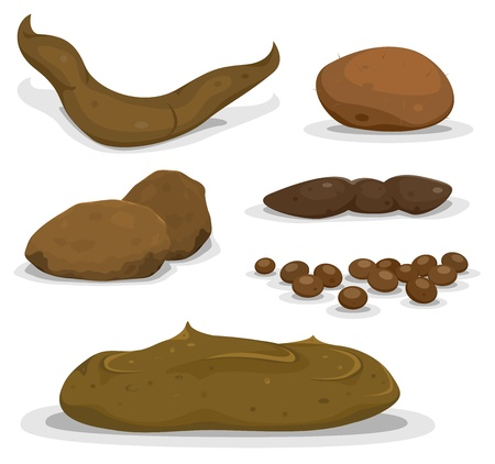 poo: Illustration of a set of various cartoon animals dung