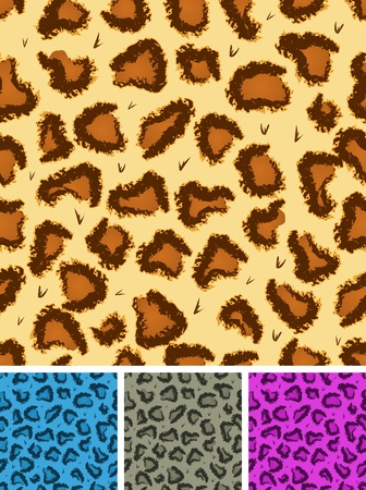 tawny: Illustration of a set of seamless wild african leopard or cheetah wallpaper background