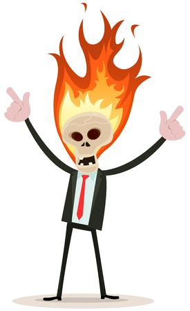 Illustration of a cartoon evil businessman character with skull head in fire Stock Vector - 21497523