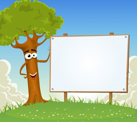 Illustration of a funny cartoon summer or spring happy tree character, holding wooden blank empty billboard with clouds and landscape background, for rural holidays vacations and envirnoment advertisement
