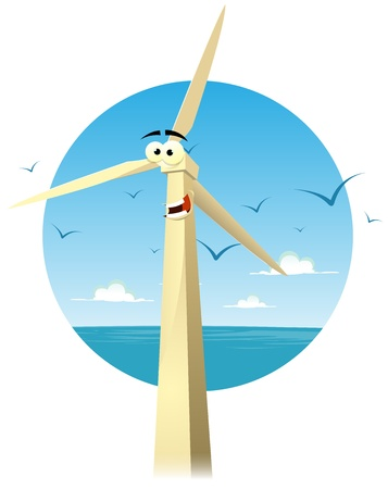 eolian: Illustration of a funny happy cartoon wind turbine character smiling with summer ocean landscape background and seagulls flying Illustration
