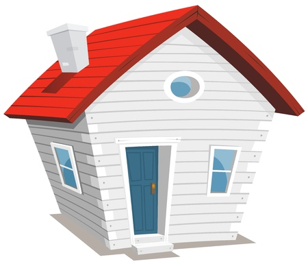 Illustration of a funny cartoon white wooden little house with chimney