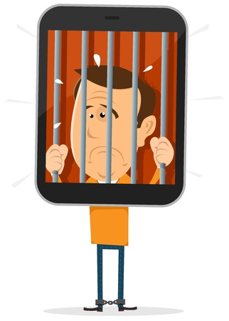 Illustration of a cartoon unhappy character prisoner from his smartphone mobile, symbolizing danger of being enslaved by new technology Stock Vector - 21998306