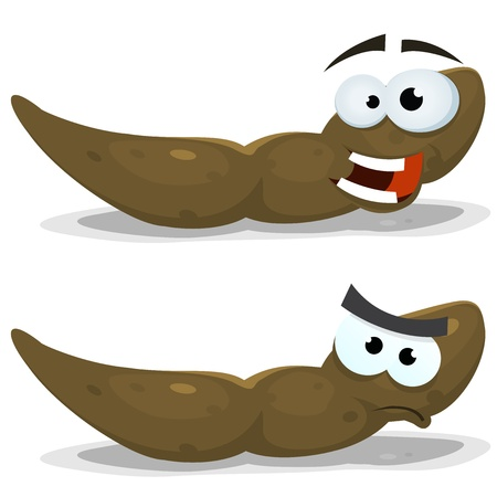 Illustration of a funny cartoon dung shit character, in happy and angry expressions Vector