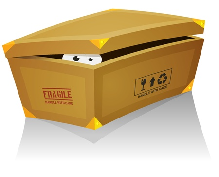 Illustration of a funny cartoon creature or animal's character eyes, hiding and looking from inside a shoes box Vector