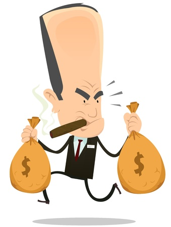 Illustration of a funny bad banker crook running away with bags full of dollars, symbolizing hold up from oligarchy Stock Vector - 21998313