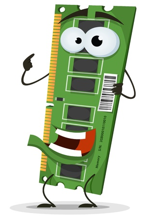 chipset: Illustration of a funny cartoon computer RAM memory card character, happy and smiling