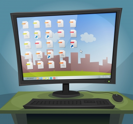 Illustration of a cartoon desktop computer at night, with screen turned on, within files icons, folders and wallpaper landscape background