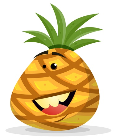 ananas: Illustration of a happy funny cartoon ananas fruit character smiling