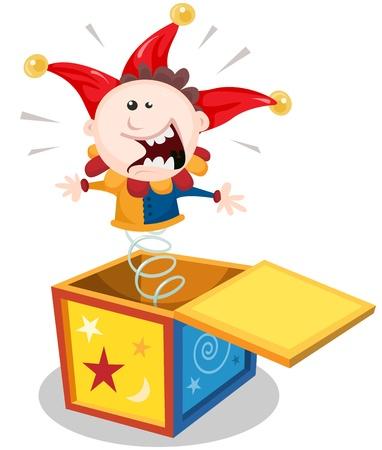 Illustratie van een grappige cartoon hefboom in de doos marionet speelgoed karakter springen en glimlachen