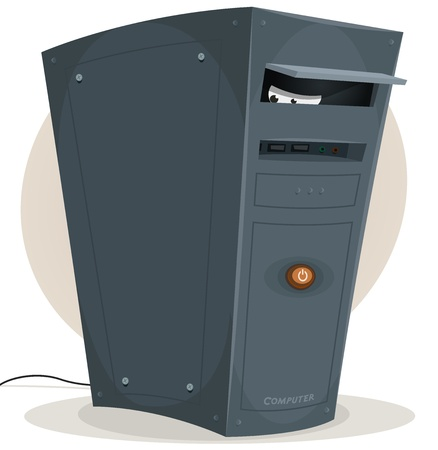 hacked: Illustration of a cartoon desktop computer tower within spying eyes