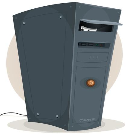 virus informatico: Ilustración de una torre de ordenador de escritorio de dibujos animados en los ojos de espionaje