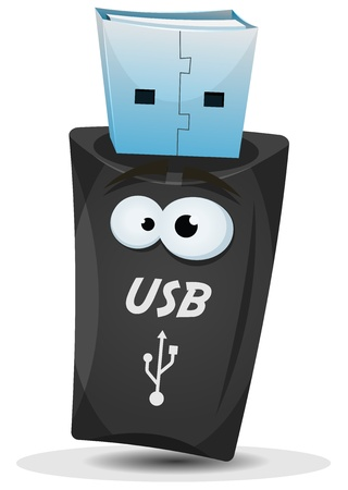 Illustration of a cartoon pocket usb key character Vector