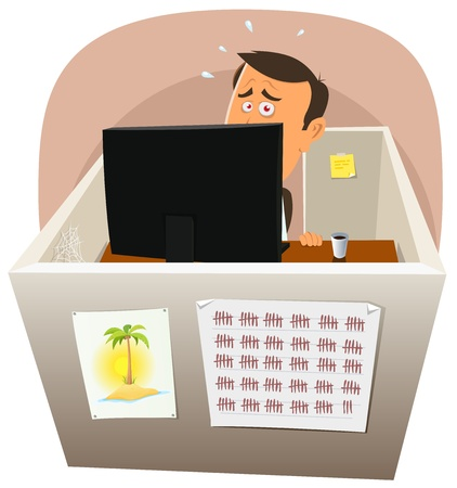 depressive: Illustration of a cartoon office employee man, depressive and closed to the nervous breakdown