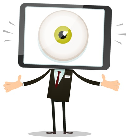 Illustration of a cartoon businessman character with big brother eye inside mobile phone head
