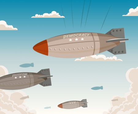 bombing: Illustration of cartoon military bombshells falling from the sky with ironical democracy and freedom propaganda message written on it