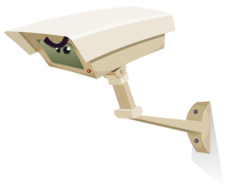 Illustration of a cartoon cctv security camera control equipment character, with spying eyes Vector
