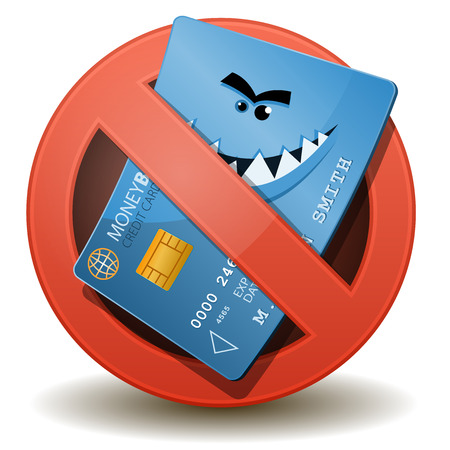 Illustration of a cartoon wicked credit card character inside a forbidden sign icon Vector