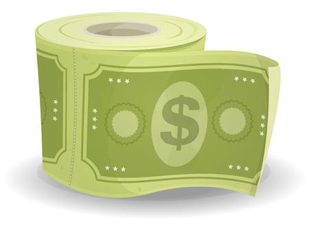 papel higienico: Ilustración de un rollo de dibujos animados de papel higiénico hecho con la moneda de dólares Vectores