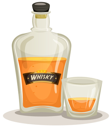 distilled: Illustration of a cartoon whisky bottle and glass for alcohol and beverage backgrounds