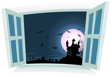 cartoon window: Illustration of a cartoon halloween castle inside night landscape by an open window, with full moon rising, bats flying and tombstones for october fall holidays