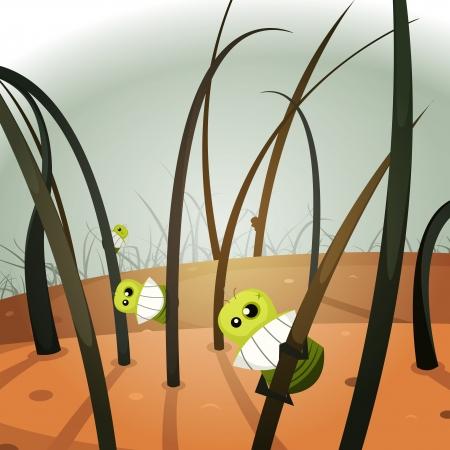 piojos: Ilustración de un primer plano de piojo de divertidos dibujos animados colonia de insectos colgando en el interior del cabello y la piel paisaje