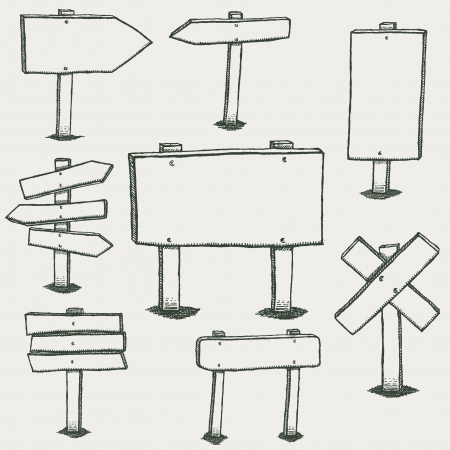 Illustratie van een set van de hand getekende schetsontwerp houten panelen en verkeersborden Stock Illustratie