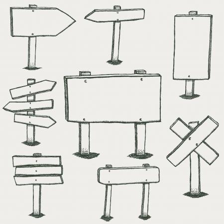 Ilustración de un conjunto de dibujado a mano esbozado paneles de madera de diseño y señales de tráfico