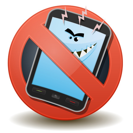 Illustration of a cartoon harmful mobile phone character inside a forbidden sign icon Stock Vector - 22446601