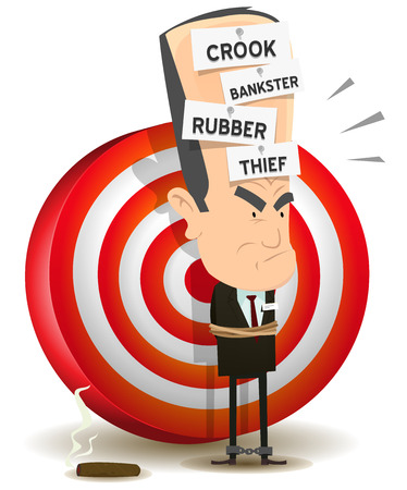 Illustration of a cartoon scenery with bad banker crook leader attached and prisoner with dart target behind Stock Vector - 22447137