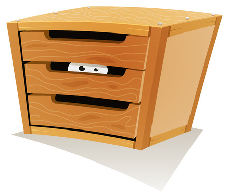 anxious: Illustration of a cartoon wooden storage furniture with drawers and within animal or creatures eyes hiding and looking