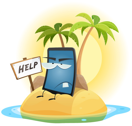 confined: Illustration of a cartoon scenery with useless mobile phone character in castaway situation, and help wood sign on a desert island with palm trees and rocks