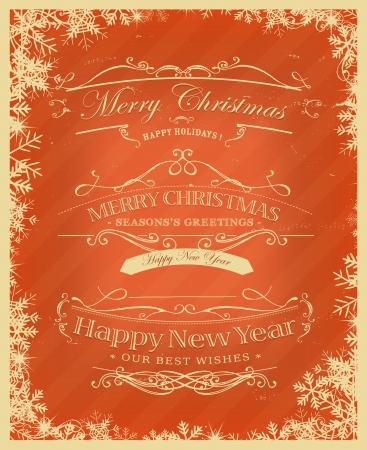 Illustration of a vintage placard poster background for christmas, seasons greetings and happy new years eve holidays with sketched banners, floral patterns, ribbons, text and design elements in grunge frame texture