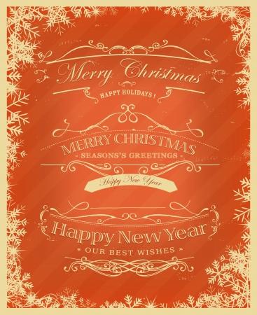 vintage: Ilustración de un fondo cartel cartel vintage para navidad, saludos de la estación y las vacaciones Eve de la Feliz Año Nuevo con pancartas esbozadas, estampados de flores, cintas, texto y elementos de diseño en el grunge textura marco