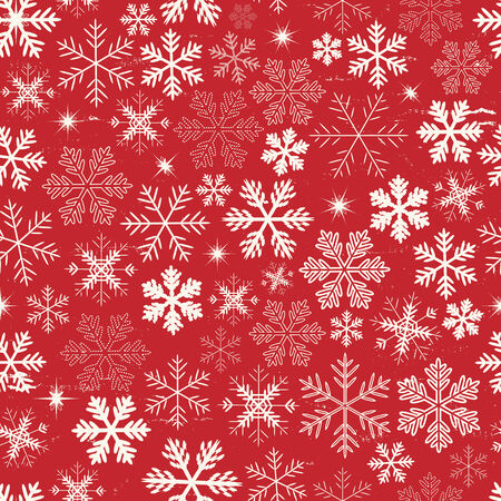 red snowflake background: Illustration of a seamless background of white winter snowflakes for christmas and new years eve holidays