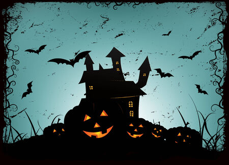 Illustration of a spooky haunted house or castle inside blue and grey halloween holidays horror background, with jack olantern at the foreground