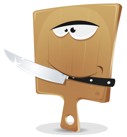 Illustration of a funny cartoon wood cutting board character holding kitchen knife with his tooth Ilustracja
